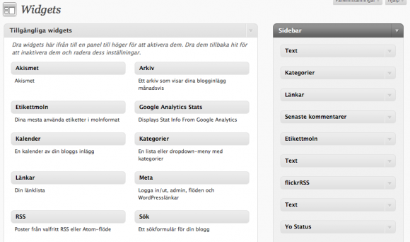 Widgets i WordPress dashboard