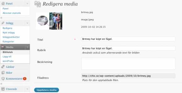 redigera media, i WordPress 2.8.4