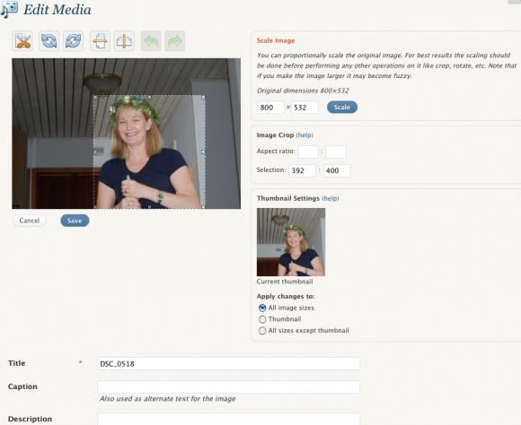 Bildredigering i WordPress 2.9